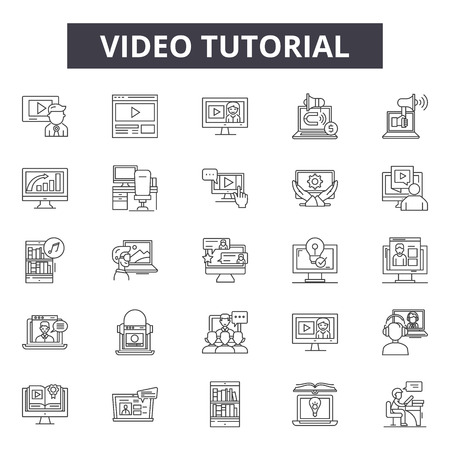 Video tutorial line icons, signs set, vector. Video tutorial outline concept illustration: media,video,computer,internet,tutorial,communication,onvector
