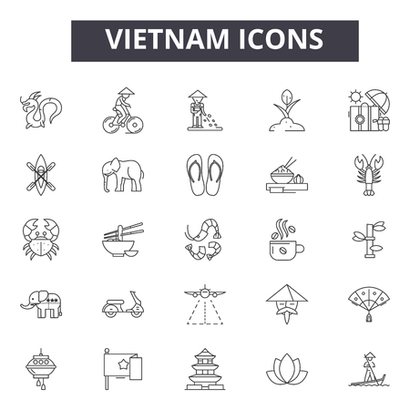 Vietnam line icons, signs set, vector. Vietnam outline concept illustration: vietnam,travel,tourism,vietnamese,city,asia