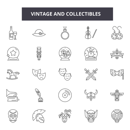 Vintage and collectibles line icons, signs set, vector. Vintage and collectibles outline concept illustration: retro,vintage,collectible,isolated,antique,picture,aged Foto de archivo - 123516497