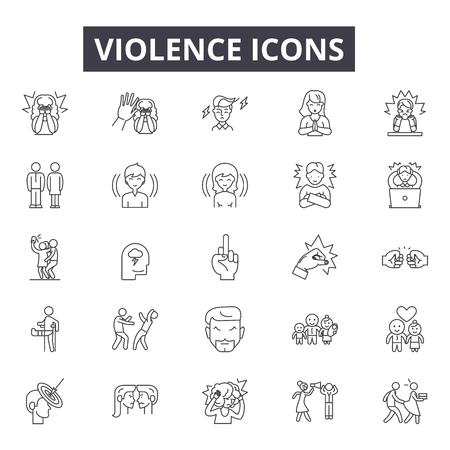 Icone della linea di violenza, set di segni, vettore. Illustrazione del concetto di contorno di violenza: violenza, crimine, persone, mano, abuso