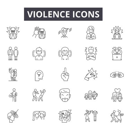 Violence line icons, signs set, vector. Violence outline concept illustration: violence,crime,people,hand,abuse 版權商用圖片 - 121126088