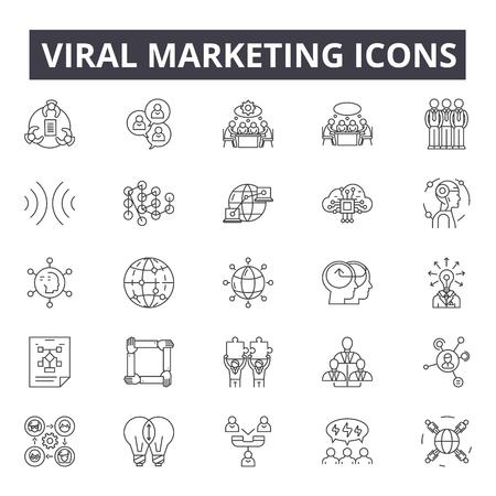 Viral marketing line icons, signs set, vector. Viral marketing outline concept illustration: marketing,seo,network,viral,web,business,social,internet,media Illustration
