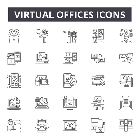 Virtual offices line icons, signs set, vector. Virtual offices outline concept illustration: office,business,technology,internet,virtual,work,computer,web,communication