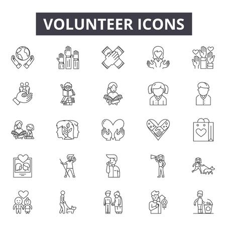 Volunteer line icons, signs set, vector. Volunteer outline concept illustration: volunteer,charity,hand,love,human,people,care