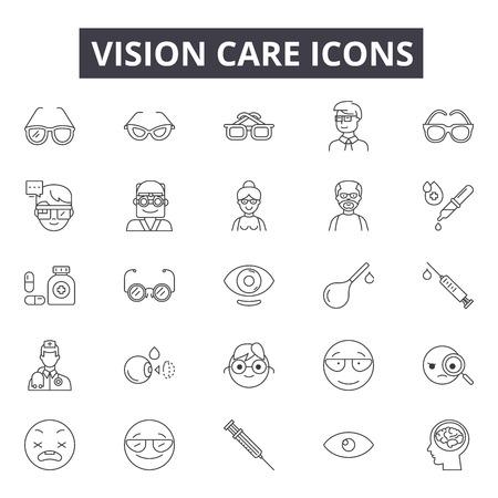 Icone della linea di cura della vista, set di segni, vettore. Illustrazione del concetto di contorno di cura della vista: visione, cura, salute, occhio, medico, ottico Vettoriali