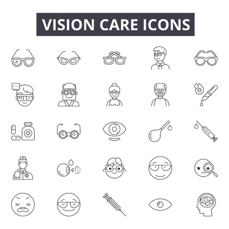 Vision care line icons, signs set, vector. Vision care outline concept illustration: vision,care,health,eye,medical,optical Illustration
