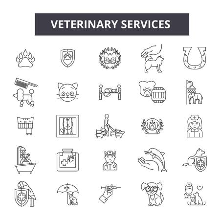 Veterinary services line icons, signs set, vector. Veterinary services outline concept illustration: animal,veterinary,pet,care,service,dog,symbol Vektorové ilustrace