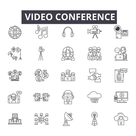 Video conference line icons, signs set, vector. Video conference outline concept illustration: video,conference,communication,internet,computer,chat,business