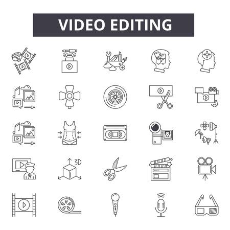 Icone della linea di editing video, set di segni, vettore. Illustrazione del concetto di contorno di editing video: video, fotocamera, film, film, design