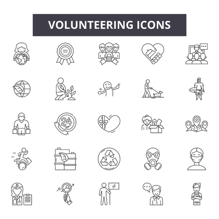 Volunteering line icons, signs set, vector. Volunteering outline concept illustration: volunteer,charity,hand,love,human,people,care