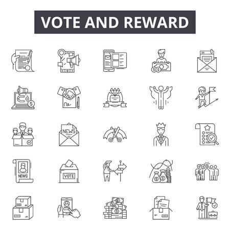 Vote and reward line icons, signs set, vector. Vote and reward outline concept illustration: success,prize,award,reward,vote,star,winner,victory