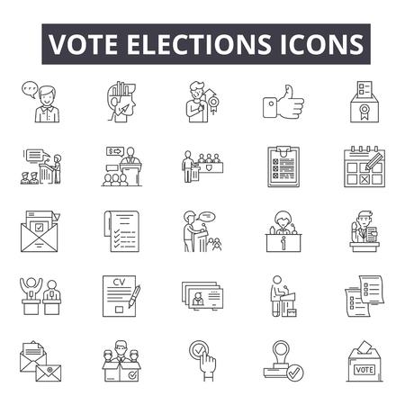 Votar los iconos de la línea de elecciones, conjunto de signos, vector. Votar elecciones ilustración del concepto de esquema: votación, gobierno, elección, política, papeleta, política, caja, voto
