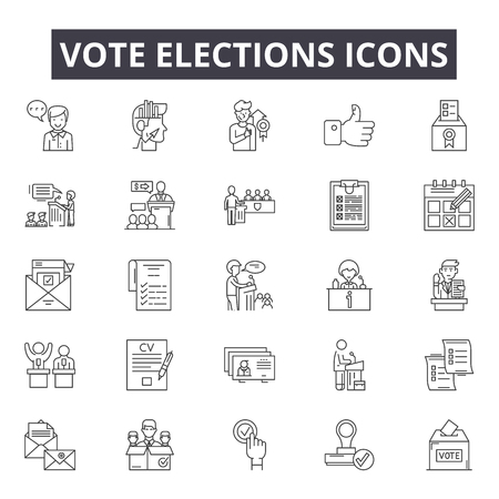 Voto elezioni icone della linea, set di segni, vettore. Elezioni di voto delineano il concetto di illustrazione: voto,governo,elezione,politica,scrutinio,politica,scatola,voto