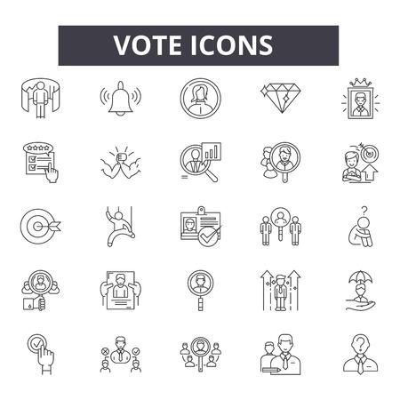 Icônes de ligne de vote, ensemble de signes, vecteur. Illustration de concept de contour de vote : vote, vote, scrutin, élection, fort Vecteurs