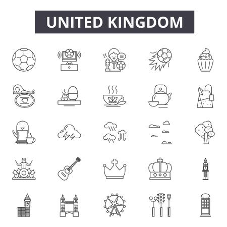 United kingdom line icons, signs set, vector. United kingdom outline concept illustration: travel,kingdom,background,country,uk,england