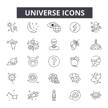 Universe line icons, signs set, vector. Universe outline concept illustration: space,universe,planet,star,astronomy,satellite,science,saturn
