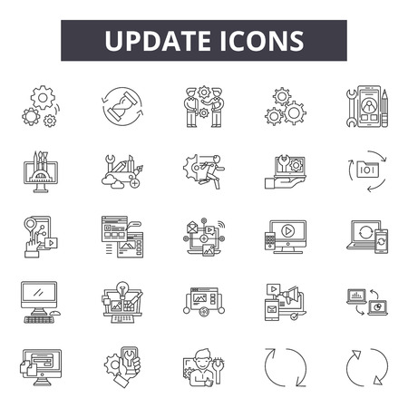 Update line icons, signs set, vector. Update outline concept illustration: update,arrow,reload,circle,element,button