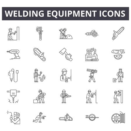 Schweißgeräte-Liniensymbole, Zeichensatz, Vektor. Schweißausrüstung Umrisskonzept Illustration: Ausrüstung, Schweißen, Arbeit, Maske, Industrie, Industrie, Arbeiter