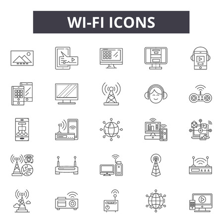 Wi fi line icons, signs set, vector. Stok Fotoğraf - 121126700
