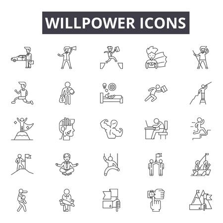 Iconos de línea de fuerza de voluntad, conjunto de signos, vector. Ilustración del concepto de esquema de fuerza de voluntad: fuerza de voluntad, negocios, sobrehumano, gestión, yo, desarrollo, éxito