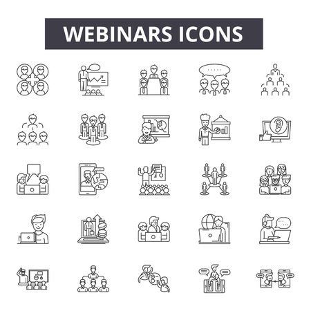 Webinars line icons, signs set, vector. Webinars outline concept illustration: webinar,computer,internet,web,training,oneducation,video