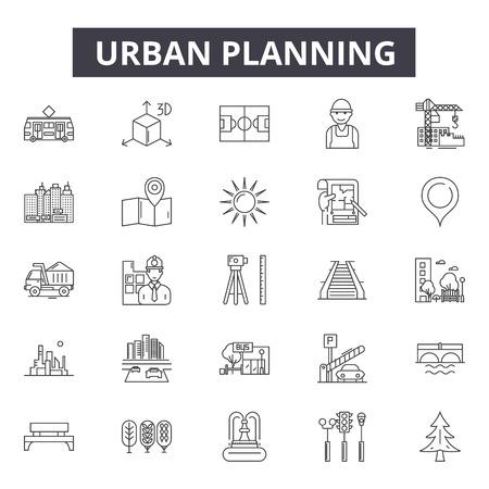 Urban planning line icons, signs set, vector. Urban planning outline concept illustration: plan,urban,dearchitecture,city,construction,building Illustration