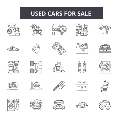 Used cars for sale line icons, signs set, vector. Used cars for sale outline concept illustration: used,car,vehicle,sale,automobile,deauto,transportation,service