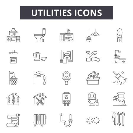 Icônes de ligne utilitaires, ensemble de signes, vecteur. Les services publics décrivent l'illustration du concept : énergie, électricité, eau, alimentation, maison, service