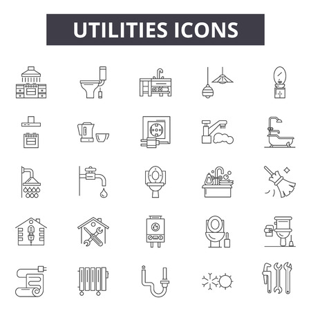 Utilities line icons, signs set, vector. Utilities outline concept illustration: energy,electricity,water,supply,house,service