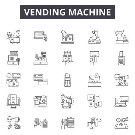 Icone della linea del distributore automatico, set di segni, vettore. Illustrazione del concetto di contorno del distributore automatico: distributore automatico, macchina, acquisto, automatico, distributore, moneta Vettoriali