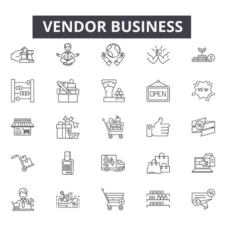 Icone della linea di business del fornitore, set di segni, vettore. Illustrazione del concetto di struttura aziendale del fornitore: attività commerciale, venditore, negozio, mercato, negozio, vendita al dettaglio, sfondo
