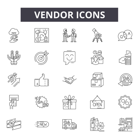 Vendor line icons, signs set, vector. Vendor outline concept illustration: vendor,business,cart,shop,store,isolated,market,sale