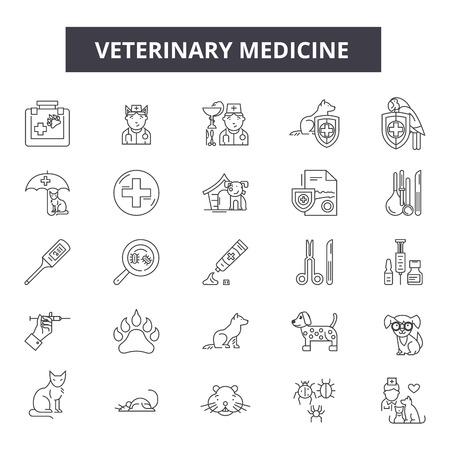 Veterinary medicine line icons, signs set, vector. Veterinary medicine outline concept illustration: veterinary,dog,medicine,animal,care,health,cat,puppy