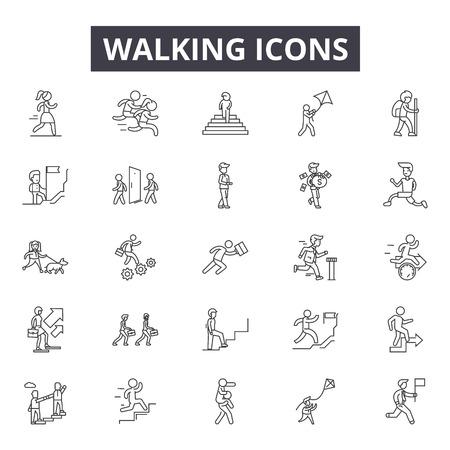 Icone della linea a piedi, set di segni, vettore. Illustrazione del concetto di contorno a piedi: uomo, pittogramma, passeggiata, traffico, strada