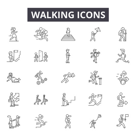 Walking line icons, signs set, vector. Walking outline concept illustration: man,pictogram,walk,traffic,road