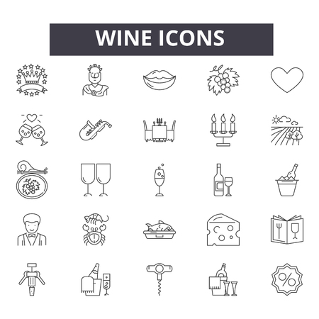 Wine line icons, signs set, vector. Wine outline concept illustration: alcohol,drink,wine,glass,bottle,winery,restaurant