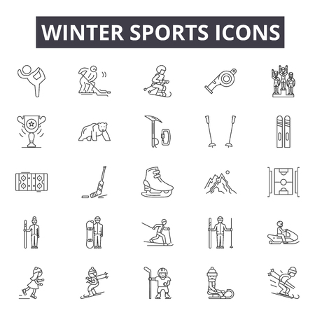 Winter sports line icons, signs set, vector. Winter sports outline concept illustration: winter,sport,ski,snowboard,collection,symbol Illustration