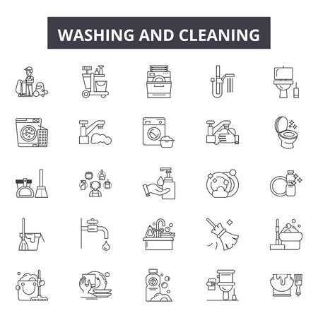 Washing and cleaning line icons, signs set, vector. Washing and cleaning outline concept illustration: sponge,mop,bucket,cleaner,spray,service,broom