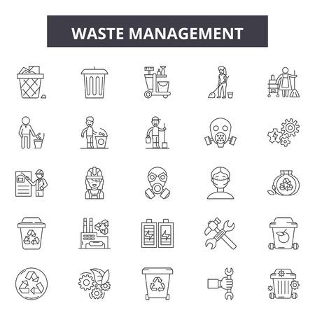 Icone della linea di gestione dei rifiuti, set di segni, vettore. Illustrazione del concetto di contorno di gestione dei rifiuti: rifiuti, riciclaggio, ecologia, riciclaggio, verde, plastica, carta