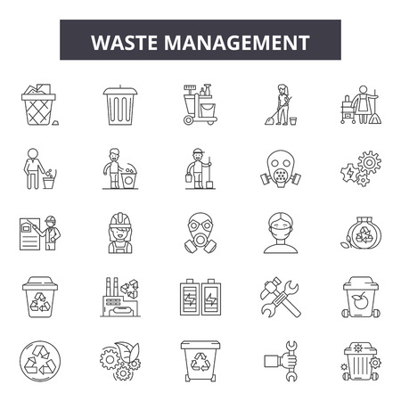 Waste management line icons, signs set, vector. Waste management outline concept illustration: waste,recycle,ecology,recycling,green,plastic,paper 矢量图像
