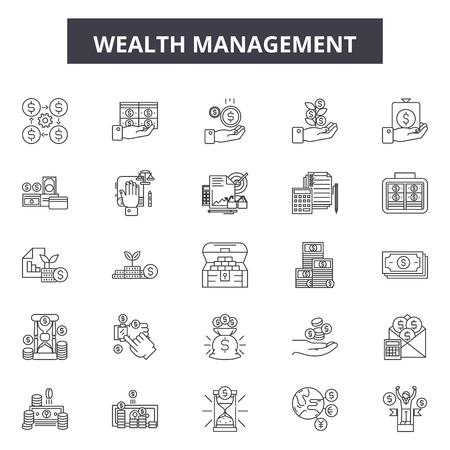 Wealth management line icons, signs set, vector. Wealth management outline concept illustration: wealth,business,finance,money,management,financial,investment,cash,profit,income Illusztráció