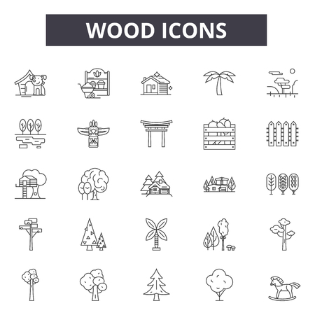 Wood line icons, signs set, vector. Wood outline concept illustration: wood,timber,tree,material,forest Ilustracja