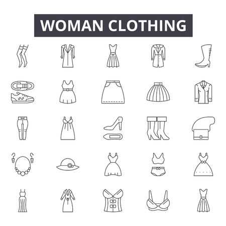 Woman clothing line icons, signs set, vector. Woman clothing outline concept illustration: fashion,dress,clothing,underwear,shirt,collection