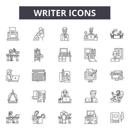 Writer line icons, signs set, vector. Writer outline concept illustration: writer,education,pen,depaper Illustration