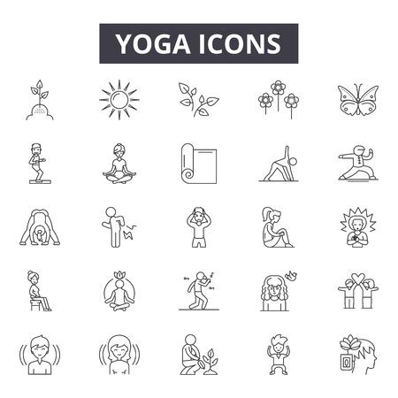 Ikony linii jogi, zestaw znaków, wektor. Ilustracja koncepcja konspektu jogi: joga, ciało, ćwiczenia, zdrowie, relaks, fitness, styl życia, sport, medytacja
