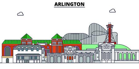 Arlington,United States, flat landmarks vector illustration. Arlington line city with famous travel sights, design skyline.