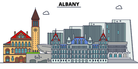 Albany , United States, flat landmarks vector illustration. Albany line city with famous travel sights, skyline, design. Banque d'images - 122526543