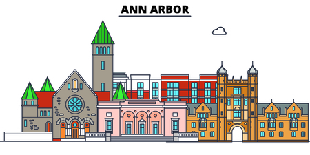 Ann Arbor,United States, flat landmarks vector illustration. Ann Arbor line city with famous travel sights, design skyline.