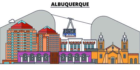 Albuquerque , United States, flat landmarks vector illustration. Albuquerque line city with famous travel sights, skyline, design.