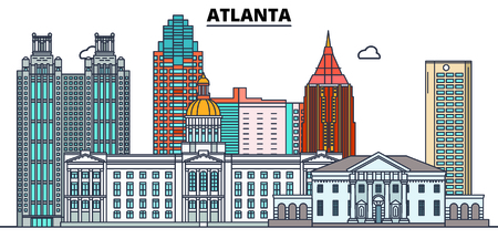 Atlanta,United States, flat landmarks vector illustration. Atlanta line city with famous travel sights, design skyline. Stockfoto - 122526549